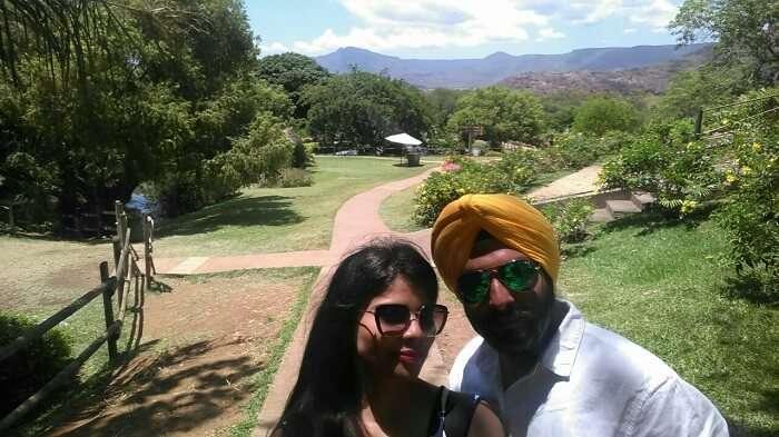 couple enjoying a nature walk together