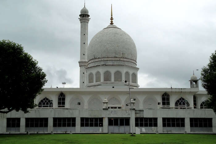Overlooking dome and minaret of Hazratbal Masjid in Srinagar