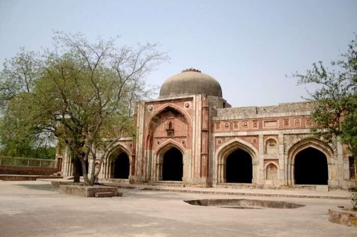 A view Jamali-Kamali mosque in Mehrauli area in Delhi