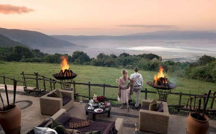 A couple looking over the landscape of Tanzania