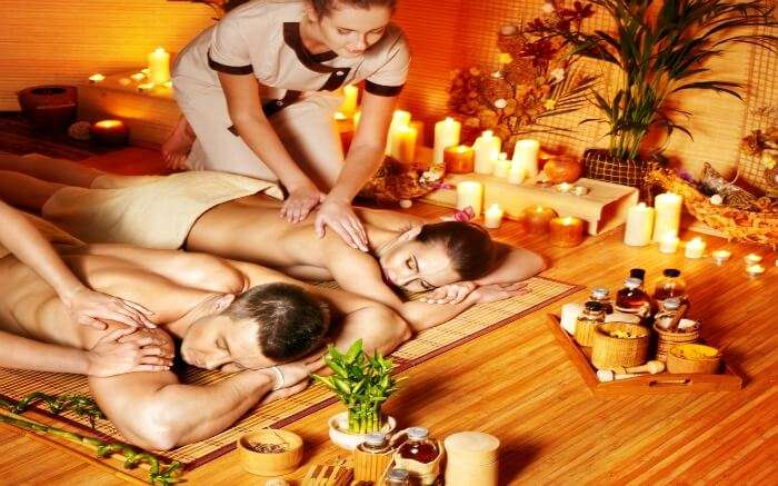 Couple enjoying Thai massage in Krabi - a must on a honeymoon in Krabi