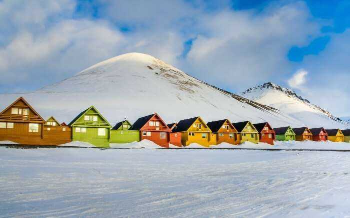 The colorful houses of the town of Longyearbyen
