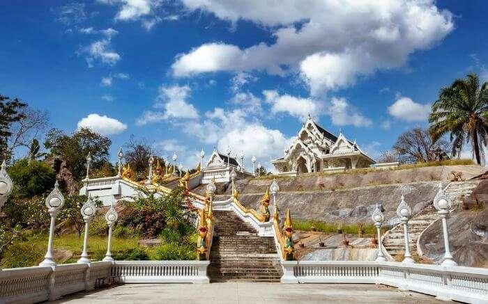 Front view of White Temple or Wat Kaew Korawaram