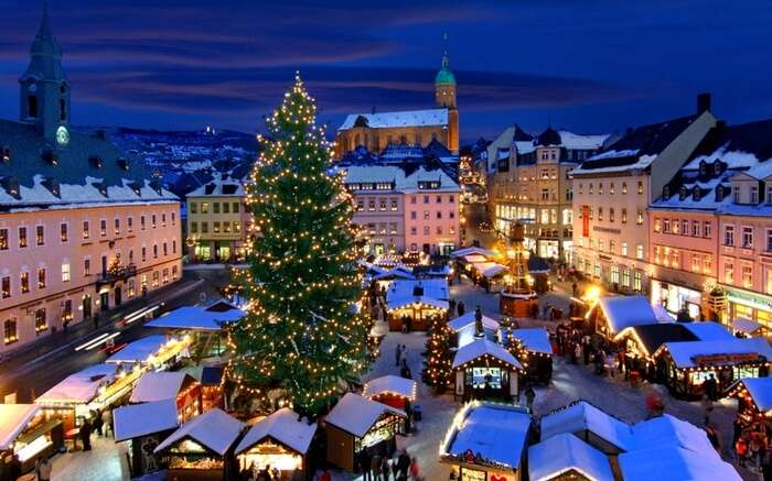 A view of Christmas market in Annaberg Buchholz in Germany