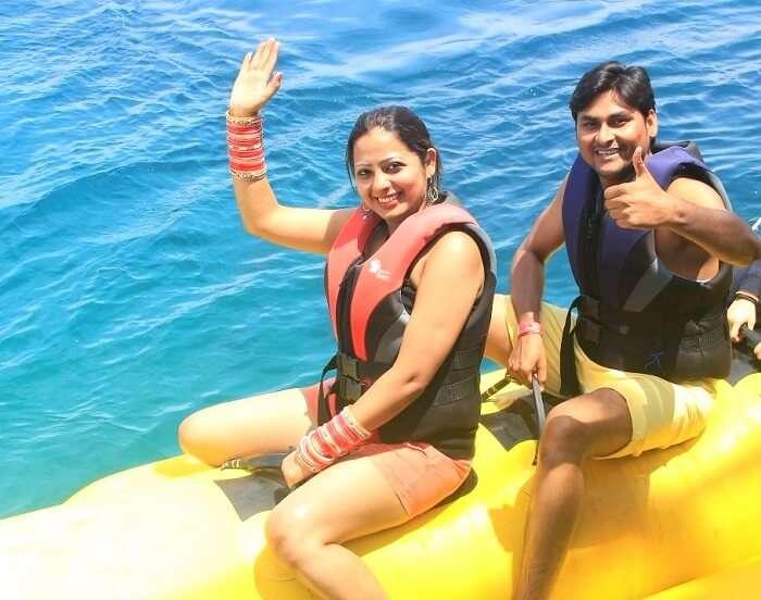 Suraj and his wife doing water activities in Bali