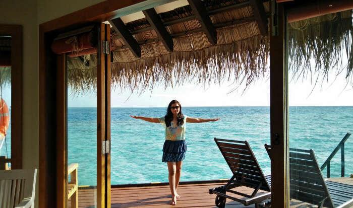 kishor's wife enjoying her stay in the dreamy water villa in maldives