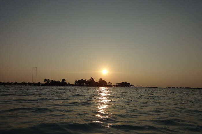 sunset at a beach in Maldives