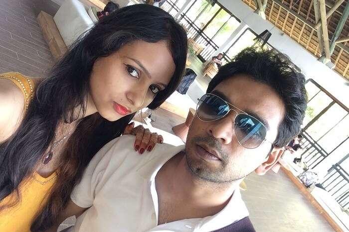 A honeymoon couple in Mauritius