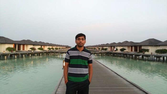 Man at Water villas in Maldives