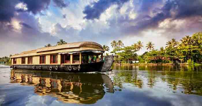 A houseboat in the backwaters in Kerala