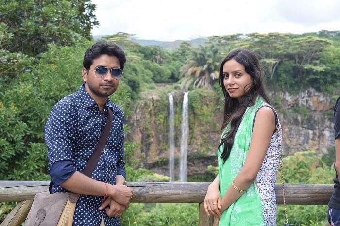 Couple enjoying at Chamarel waterfalls