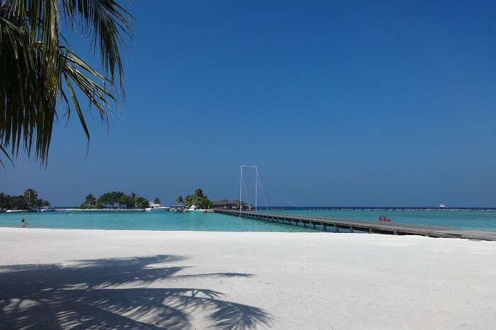 White sandy beach in Maldives