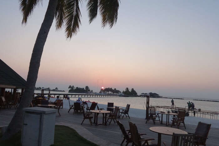 Dinner by the beach in Maldives