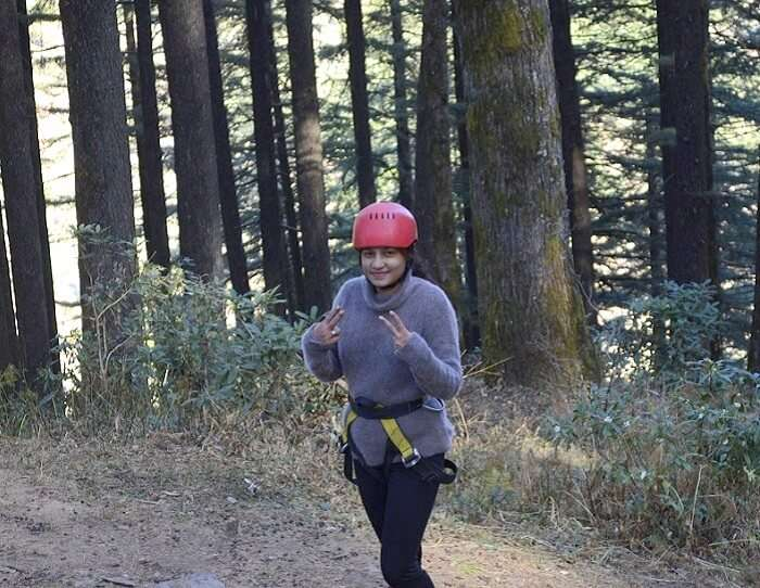 Aaanchal poses for a picture in Kanatal