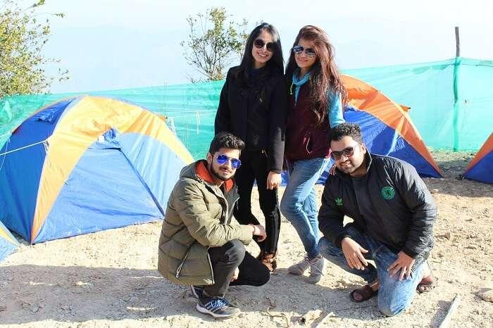 Travelers at camp Living Kanatal in Kanatal
