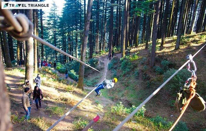 People trying adventure activities in Kanatal