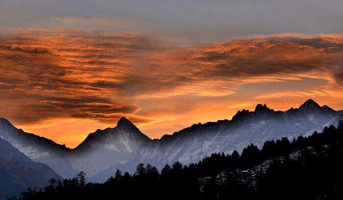 View of sunrise in Auli