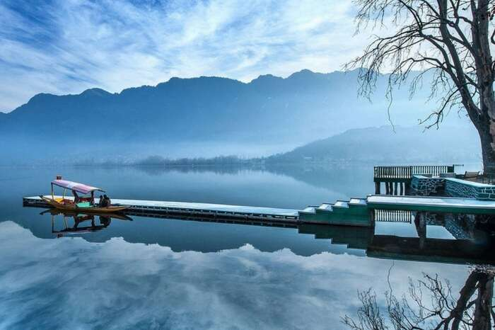 Picture perfect view of Dal Lake covered with fog