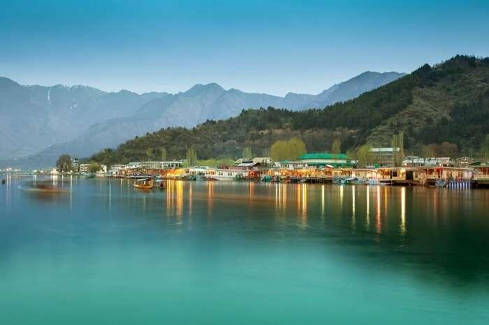 The beautiful Dal Lake in Kashmir at dusk