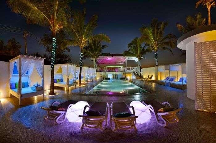 personal cabanas around pool area
