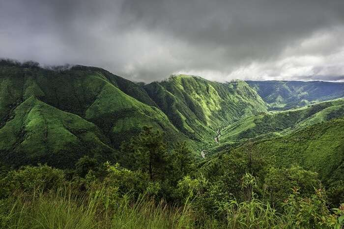 A view of the green hills in Shillong