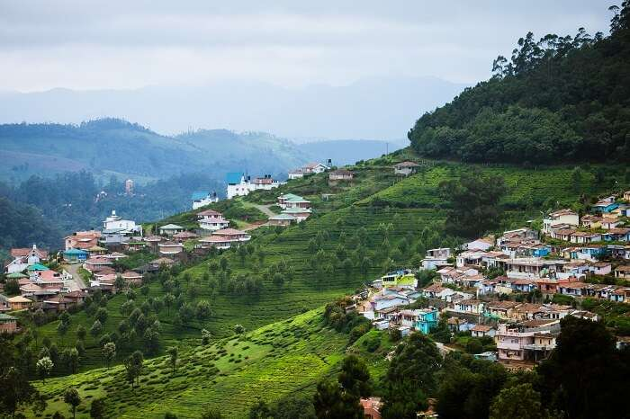 City scape on Nilgiri mountains at Udhagamandalam