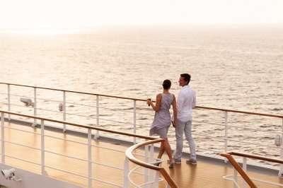 Couple cruising on a honeymoon