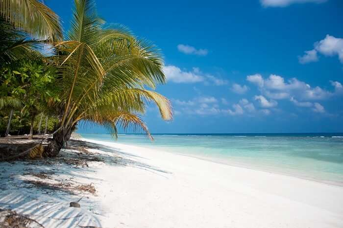 White sand shores on Minicoy Island in Lakshadweep