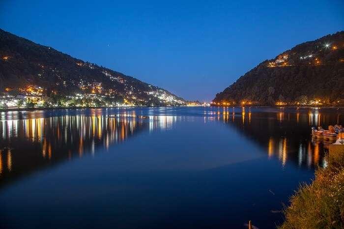 Reflection of Nainital on Naini Lake