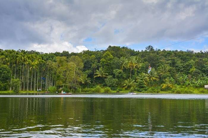 Green waters of the Karlad lake in Wayanad district