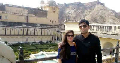Sourav with his wife in Jaipur