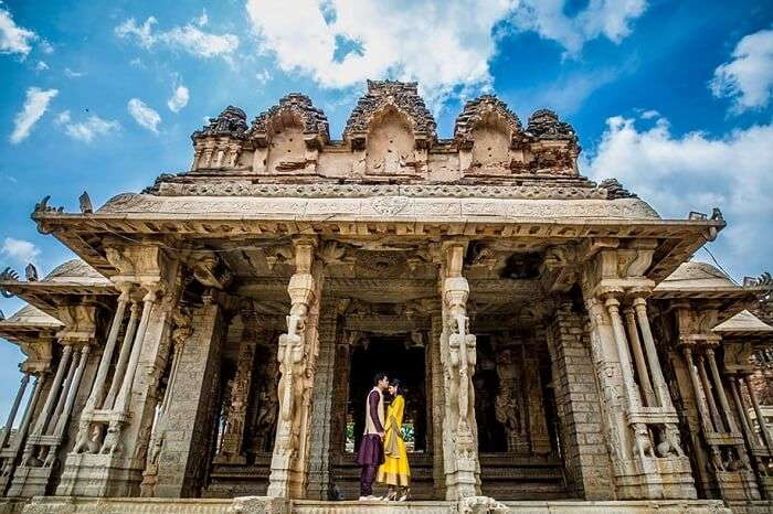 A couple at a temple in Hampi