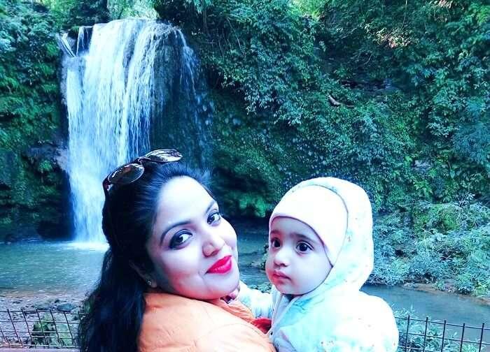 posing in front of corbett waterfall