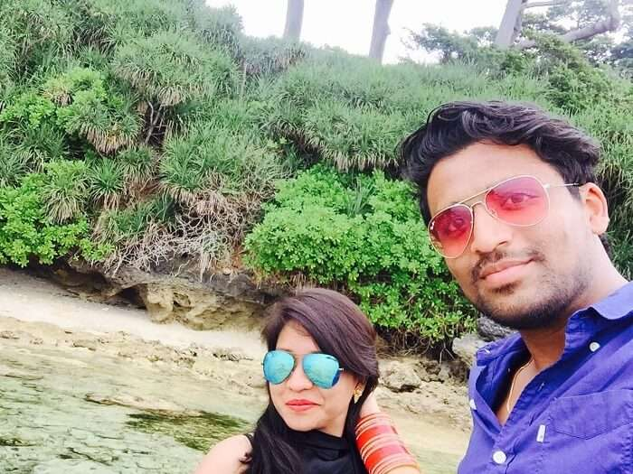 Mayank and his wife on their final day in Andaman