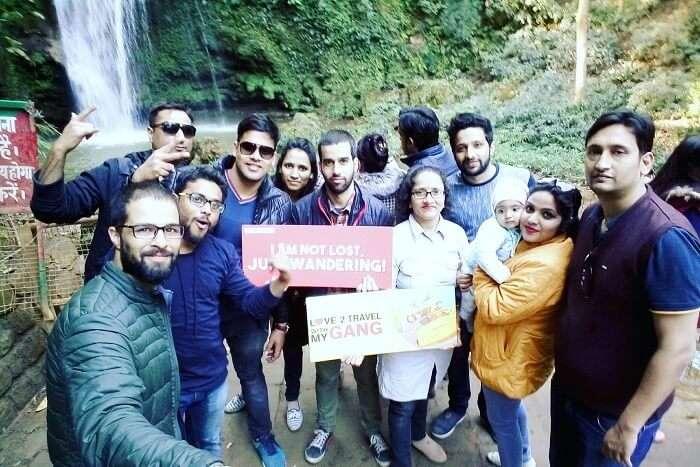 group selfie at Corbett Waterfall