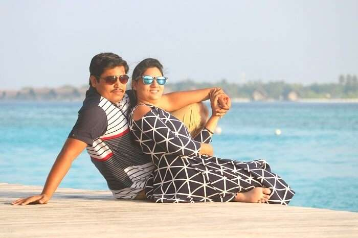 Couple checking out Maldives
