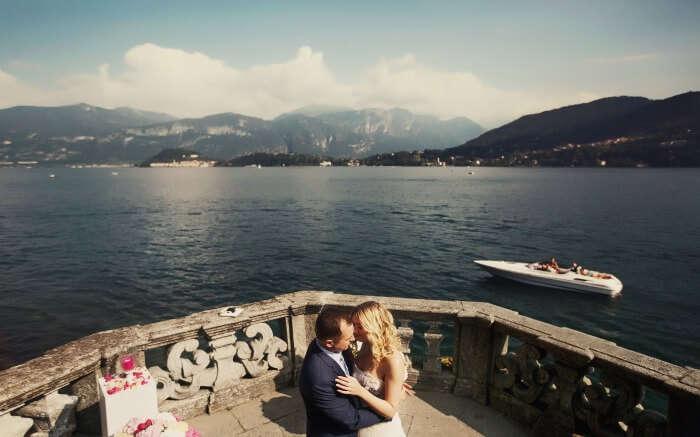 A couple in Lake Como