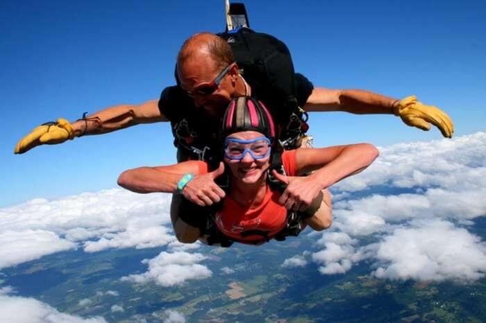 Skdiver taking Tandem skydiving in New Zealand