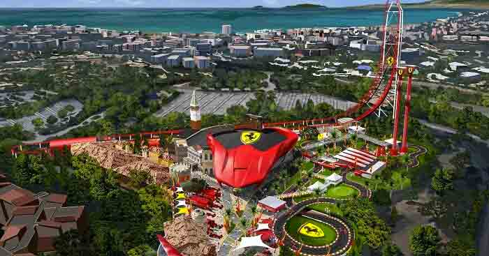 Aerial view of Ferrari land in Spain