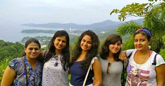 Ramya with her friends on their trip to Thailand