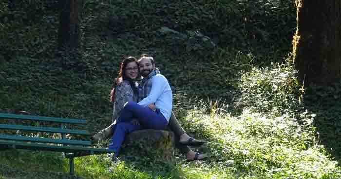Rinkesh and his wife on a weekend trip to Dhanaulti