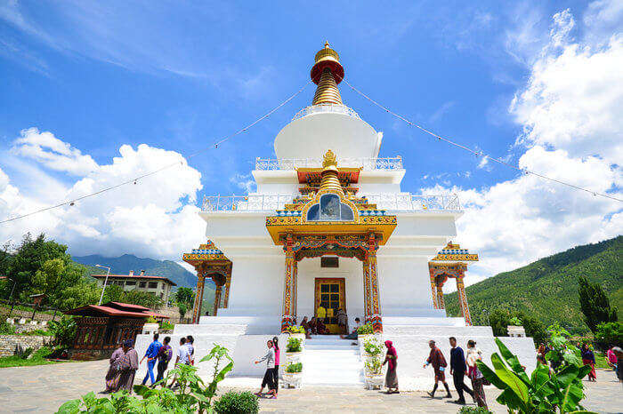 People exploring The Memorial Stupa