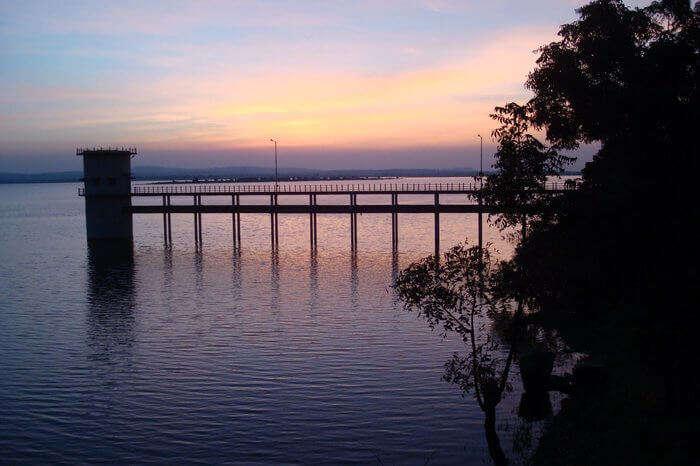 Sunset behind the bridge in Ramappa Lake