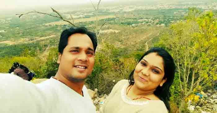 Sourabh with his wife during a holiday in Coorg