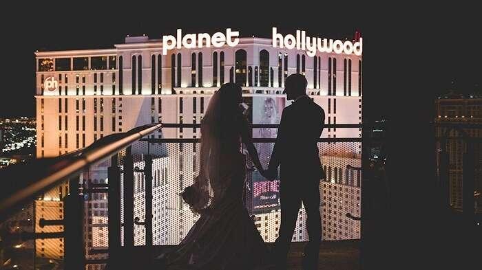 Romantic couple at Planet Hollywood Las Vegas