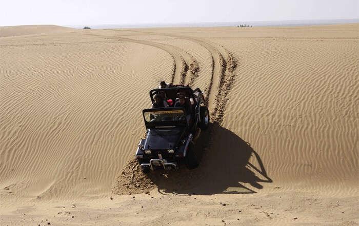 Jeep safari in desert of Jaisalmer