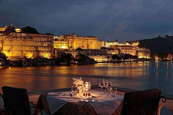 romantic dinner by lakeside