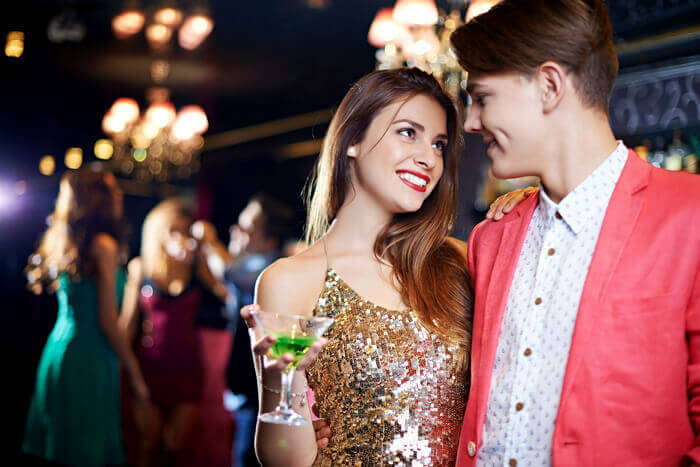 Romantic couple partying in Las Vegas
