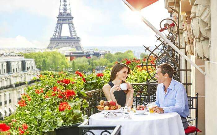 A couple in Hotel Plaza Athenee
