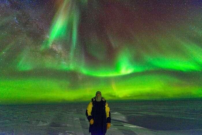 A shot of Aurora Australis and Paul Stringer in Antarctica